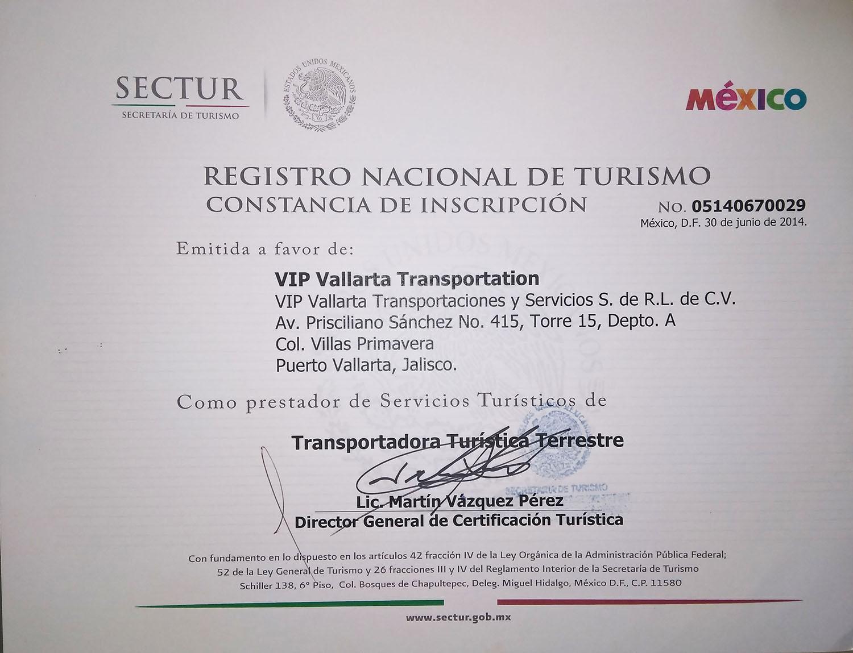 National Registry of Tourism Certificate of Registration VIP Vallarta Transportation
