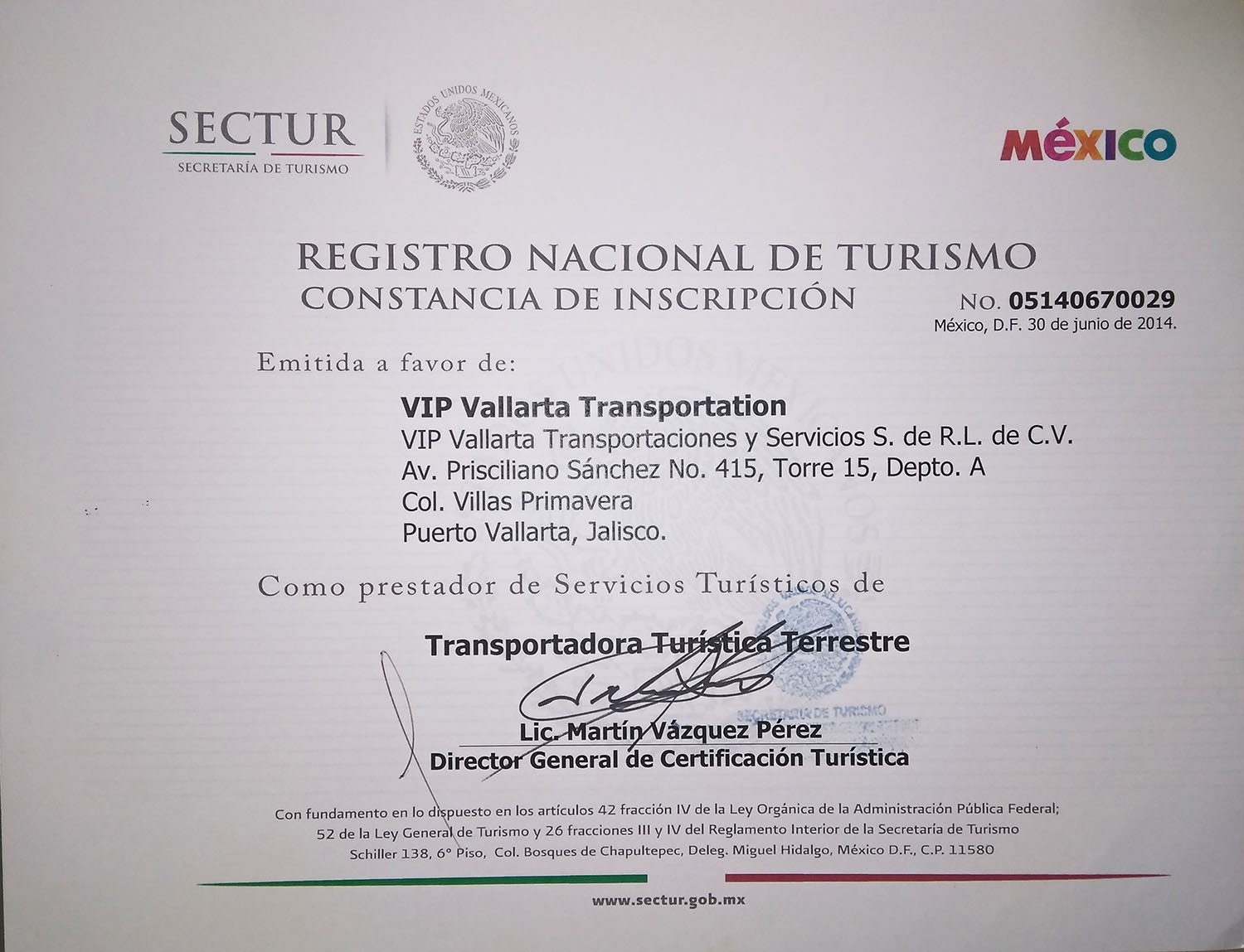 National Registry of Tourism Certificate of Registration VIP Vallarta Transportation